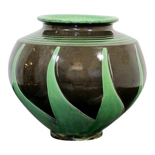 Art Deco Nouveau Herman Kahler Ceramic Hand Thrown Signed Vase Early 20th Danish For Sale