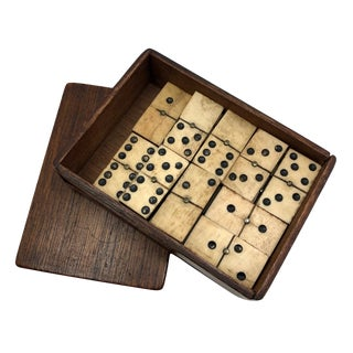 Antique Bone and Ebony Dominoes With Brass Spinners For Sale
