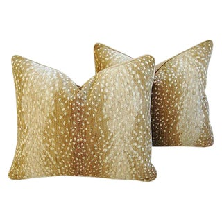 "Safari Animal Antelope Fawn Spot Velvet Feather/Down Pillows 21"" X 18 - a Pair For Sale"