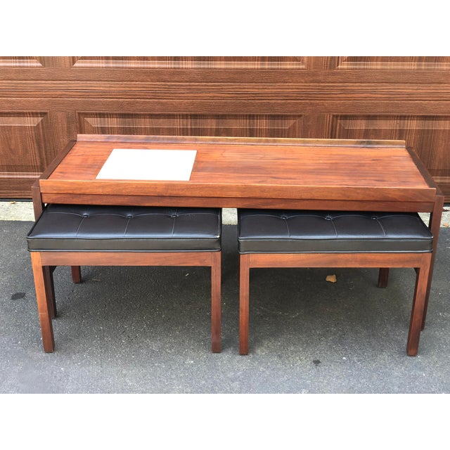 Brown Mid Century Modern Walnut Inlaid Coffee Cocktail With 2 Benches For Sale - Image 8 of 8