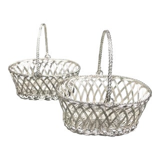 Vintage Late 20th Century Silvered Metal Miniature Plaited Flower Baskets - a Pair For Sale