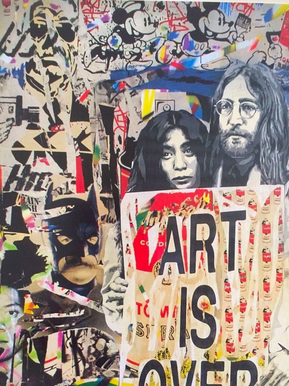 """Brainwash Original /""""John /& Yoko Art Is Over Here/"""" Lithograph Print Poster Mr"""