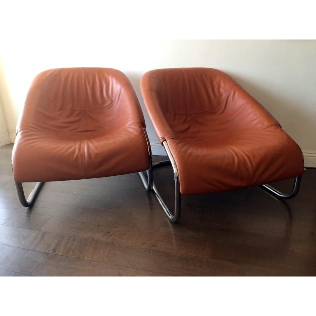 Modern Orange Minotti Chairs - a Pair For Sale - Image 3 of 8
