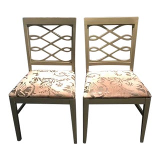 Mid-Century Stenciled Velvet Dining Chairs - A Pair For Sale