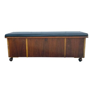 1960s Lane Mid Century Modern Leather Top Chest on Wheels For Sale