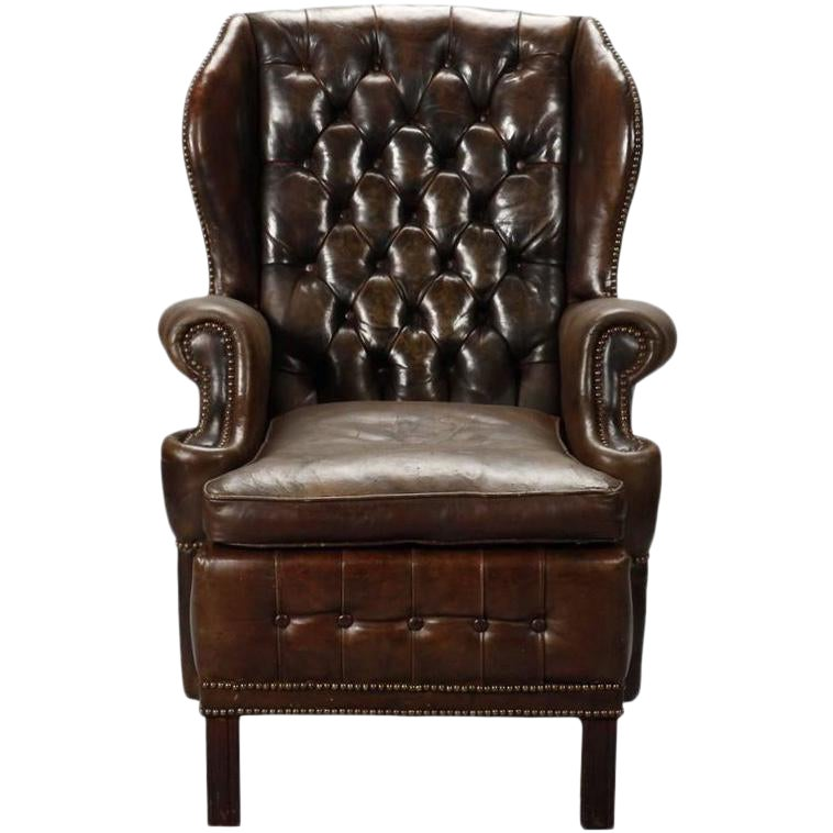 Swell English Brown Leather Tufted Library Wing Chair Spiritservingveterans Wood Chair Design Ideas Spiritservingveteransorg