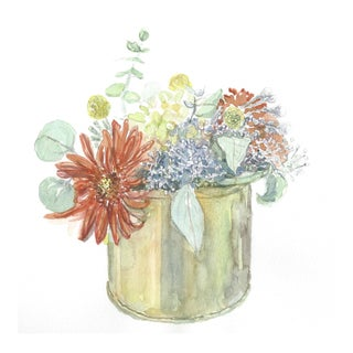 Lexie Armstrong Fall Flowers In Jar Watercolor Painting