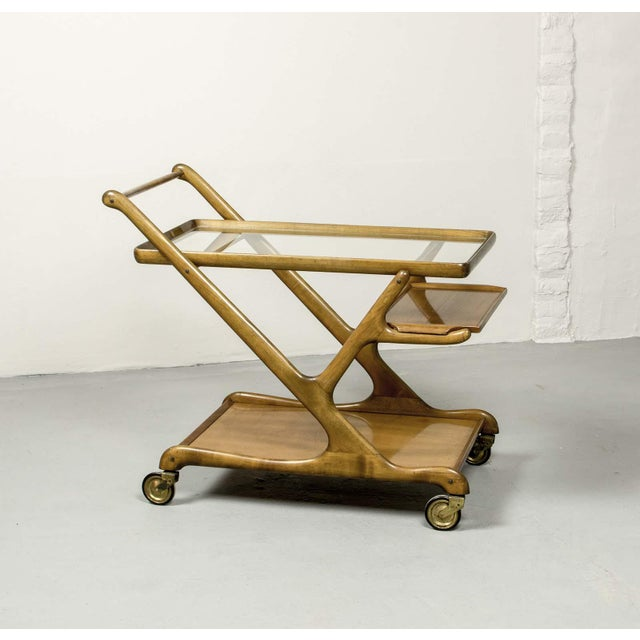 Italian Mid-Century Italian Design Walnut Bar Trolley by Cesare Lacca for Cassina, 1950s For Sale - Image 3 of 11