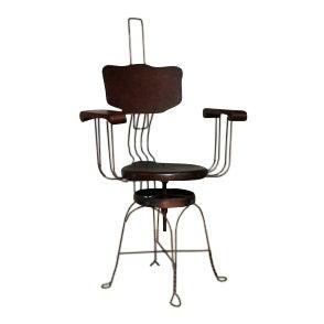 19th Century Victorian Copper Iron Twist Legs Swivel Desk Chair For Sale
