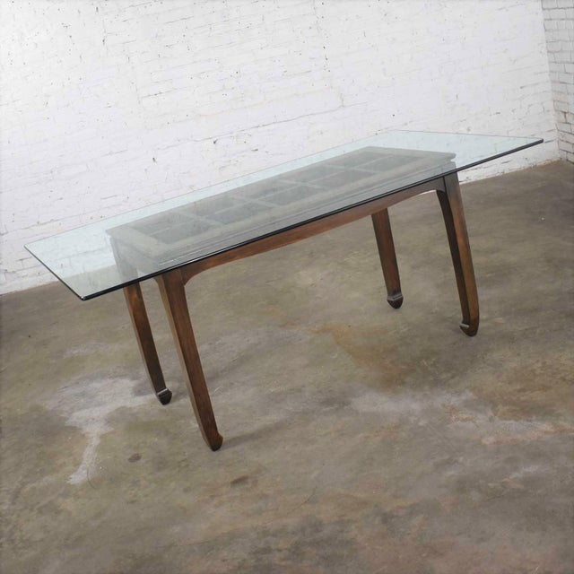 Chinoiserie Vintage Chinoiserie Chow Leg Glass Top Dining Table Walnut Color Finish For Sale - Image 3 of 13