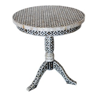 Mother of Pearl and Bone Round Side Table For Sale
