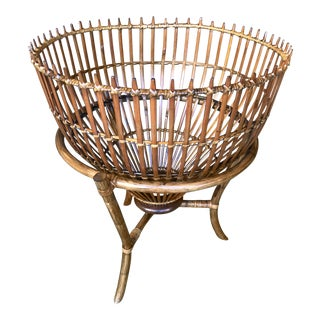 Vintage Franco Albini Style Rattan Fish Trap Basket For Sale