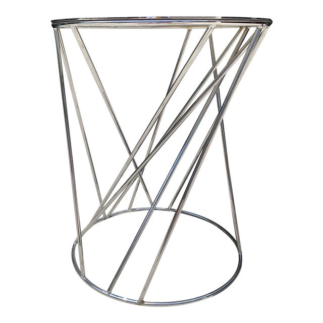 West Elm Random Base Chrome Side Table For Sale