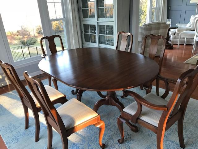 Vintage Henkel Harris Solid Cherry Dining Table U0026 Chairs   Set Of 9   Image  7