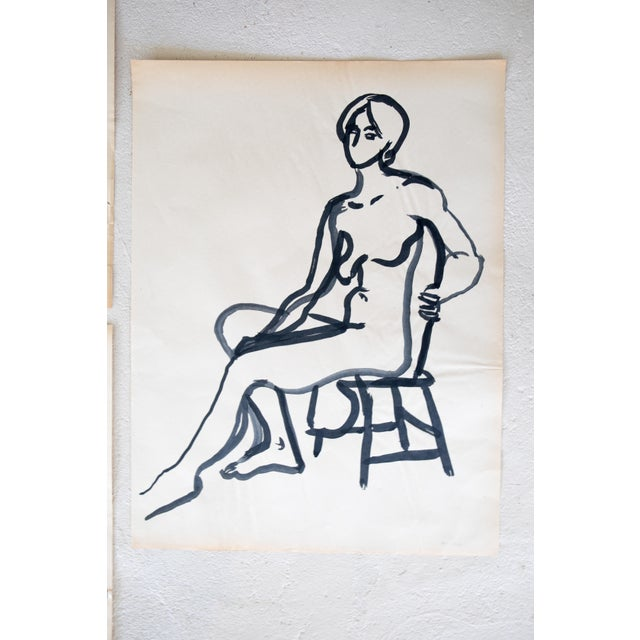 Original Mid-Century Triptych Nude Drawings - Set of 3 For Sale - Image 5 of 8