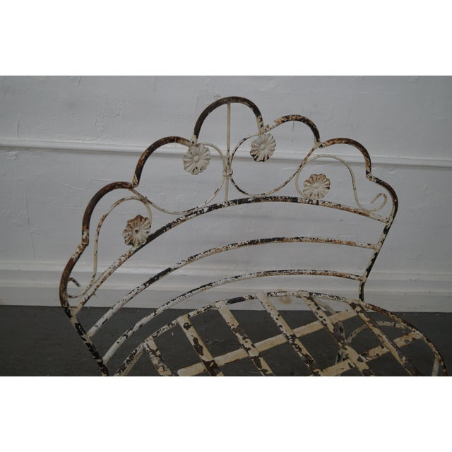 Antique French Iron Garden Patio Bench - Image 5 of 10