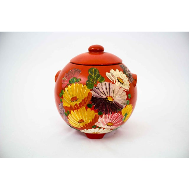 Vintage Hand Painted Floral Pottery Jar For Sale - Image 9 of 9