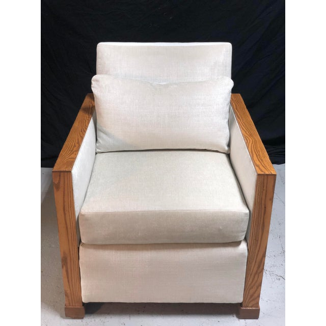 A rare and unusual pair of late 20th Century Ralph Lauren club chairs by Henredon. Completely restored in elegant Knoll...