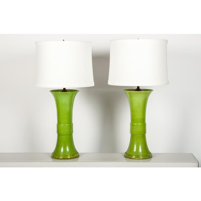 Pair of Green Porcelain Task Lamps For Sale - Image 10 of 10