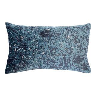 Italian FirmaMenta Blue Abstract Velvet Lumbar Pillow For Sale