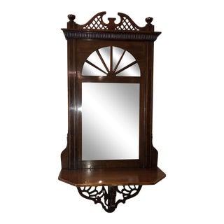 Antique English Regency Mahogany Petit Mirror & Shelf For Sale