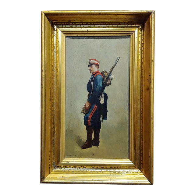 Edouard Jean Baptiste Detaille -Portrait of a Napoleonic Soldier -Oil Painting C.1870s For Sale