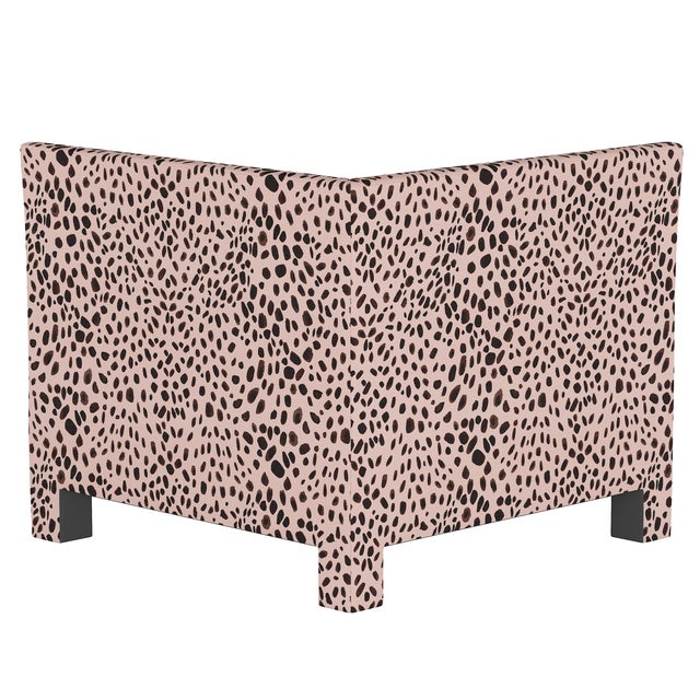 Transitional Washed Cheetah Pink Corner Chair For Sale - Image 3 of 7