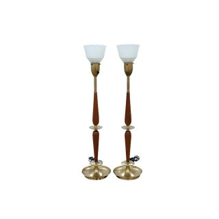 Mid Century Modern Uplighter Table Lamps, a Pair For Sale