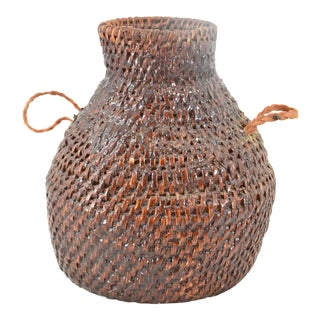 Vintage Native American Style Handwoven Water Jug For Sale