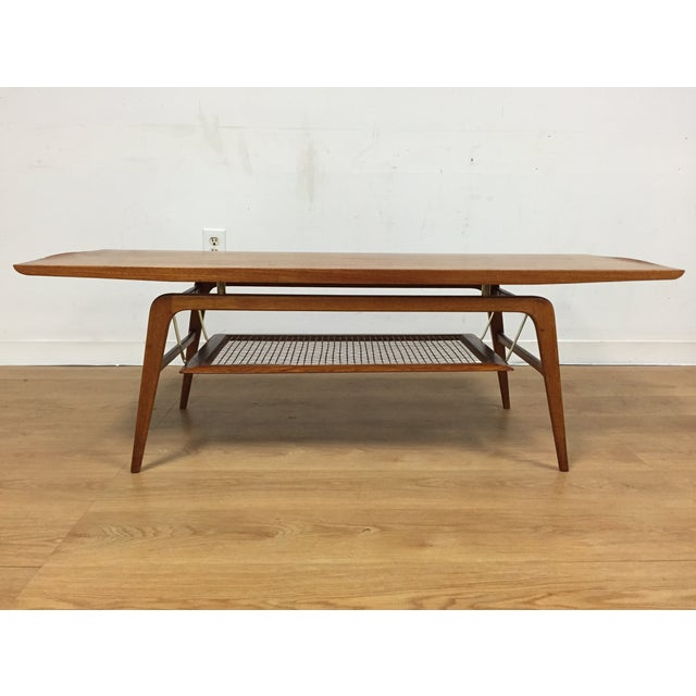 Stunning Teak And Chrome Contemporary Small Coffee Table: Teak & Brass Floating Coffee Table