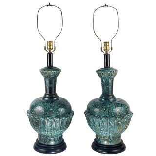 1960s Majolica Porcelain Turquoise Sea Garden Glaze Lamps - a Pair For Sale