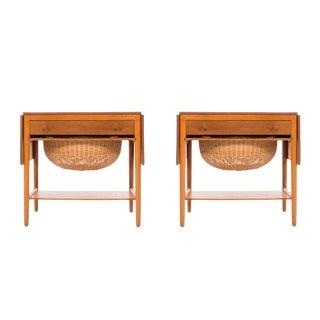 Pair of Hans Wegner Drop-Leaf Sewing Side Tables