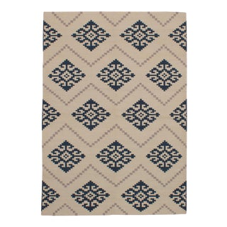 Turkish Modern Tribal Navy Kilim Rug - 5' x 8'