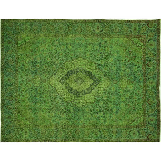 "Lime Green Overdyed Tabriz Area Rug - 9'5"" x 12' - Image 1 of 10"