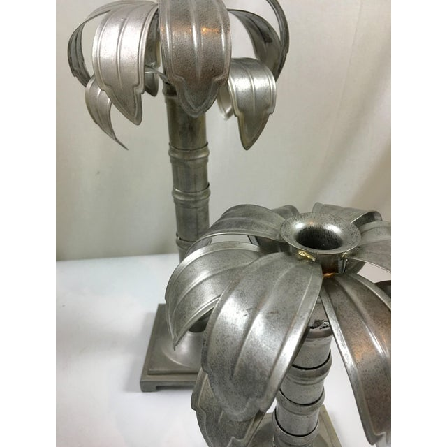 Palm Tree Metal Candleholders - Pair For Sale - Image 4 of 4