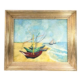 1960s Colorful Landscape Painting Harbor With Sailboats Gilt Frame For Sale