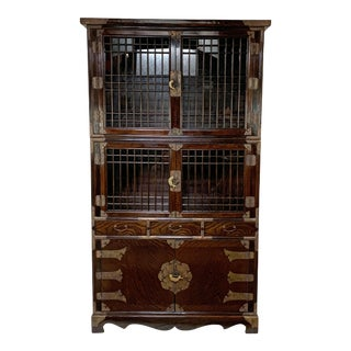 Vintage Korean Two-Piece Display Cabinet With Latticed Mullions For Sale