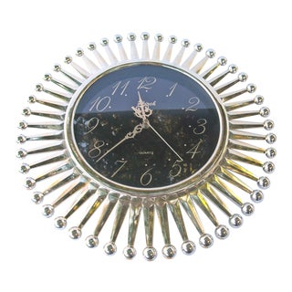 Mid-Century Wall Clock Sunburst Silver Kirch For Sale