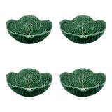 Image of Bordallo Pinheiro Cabbage Cereal Bowl 17 oz in Green, Set of 4 For Sale