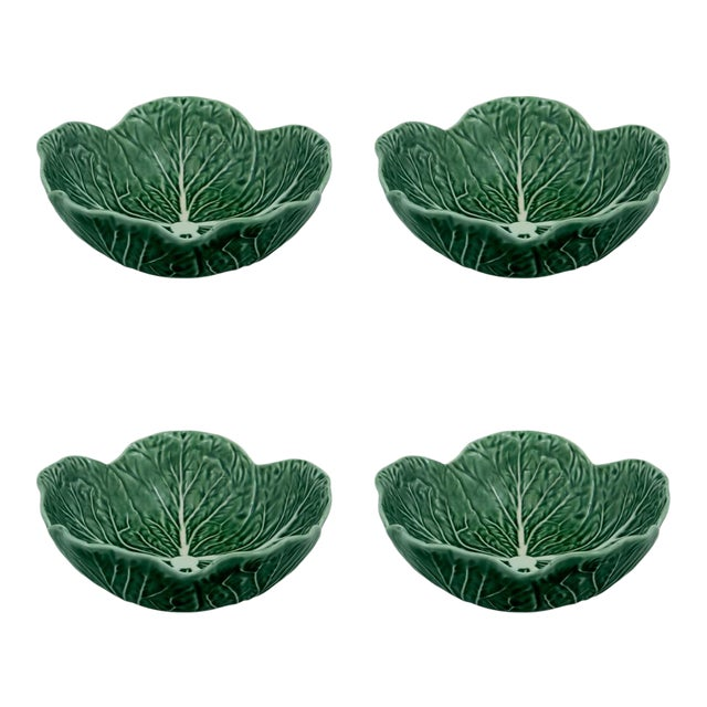 Bordallo Pinheiro Cabbage Cereal Bowl 17 oz in Green, Set of 4 For Sale