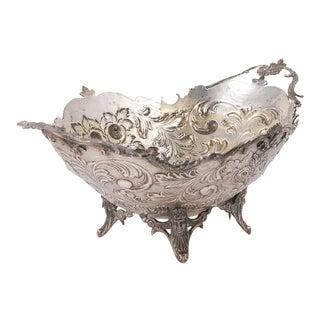 Antique Turkish 900 Silver Repousse Centerpiece Bowl For Sale