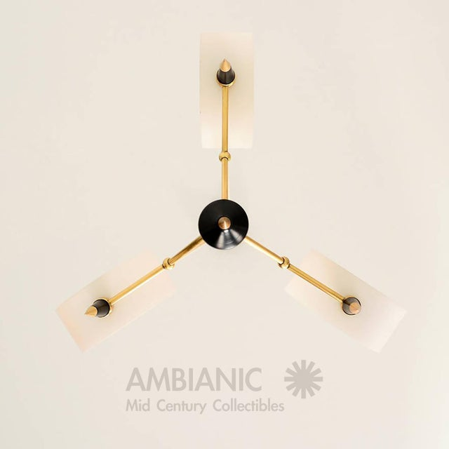 Italian Mid-Century Modern Italian Chandelier With Three Arms For Sale - Image 3 of 10