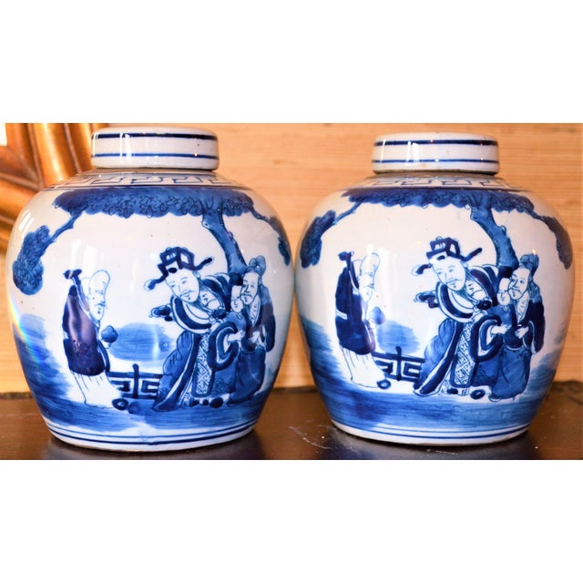 Ceramic Chinoiserie Ginger Jars With Deities - A Pair For Sale - Image 7 of 10