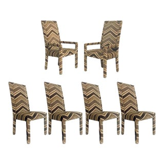 Set of Six 1970s Glam Zig Zag Parsons or Tuxedo Velvet Upholstered Dining Chairs For Sale