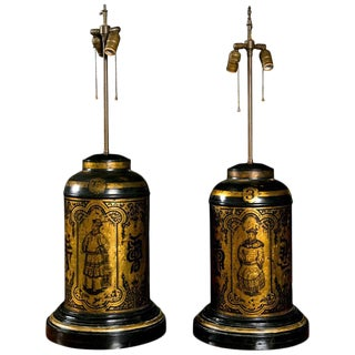 Antique Tole Oriental Tea Canister Table Lamps - a Pair For Sale