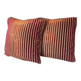 Red Ombre Stripe Velvet Pillow Covers - a Pair For Sale