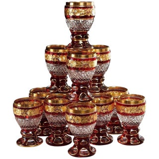 Late 19th Century Ruby & Parcel-Gilt Bohemian Glasses - Set of 12 For Sale