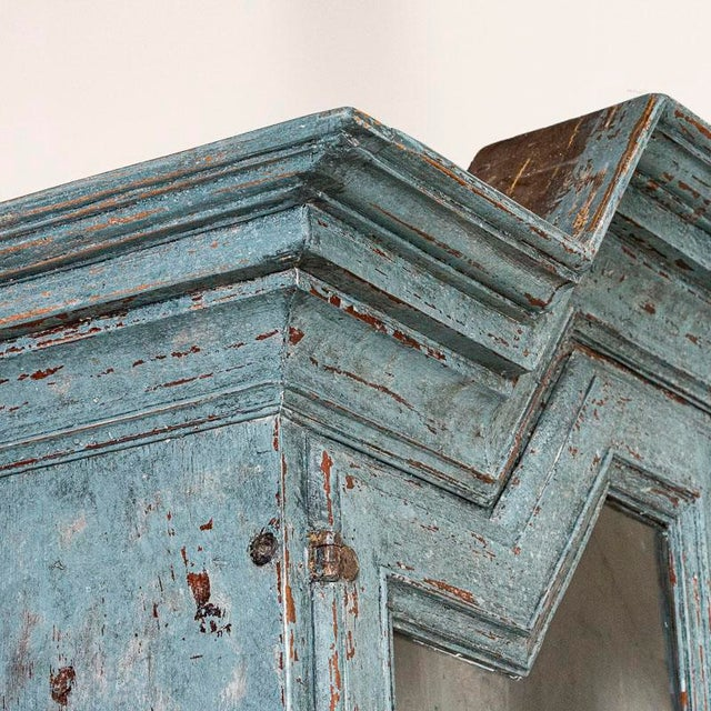 Antique Blue Painted Bookcase Display Cabinet From Sweden For Sale - Image 9 of 13