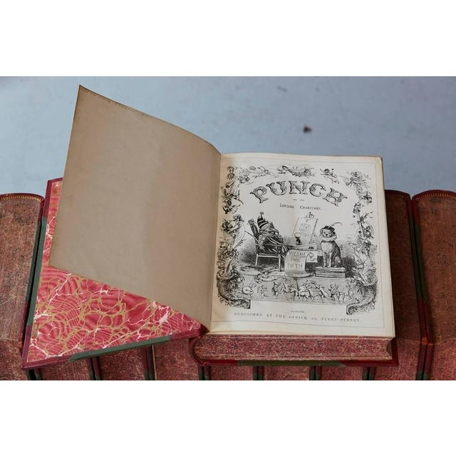 Brown Set of 24 Leather Bound Volumes of Punch No 5-100 from the Estate of José Ferrer For Sale - Image 8 of 11