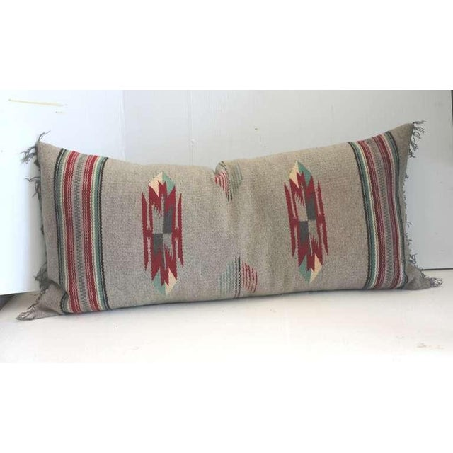 Grey Ground Mexican Serape Bolster Pillow For Sale - Image 4 of 4